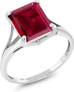 Gem Stone King 14K White Gold Red Created Ruby Women's Solitaire Ring 3.80 Ct Emerald Cut (Available 5,6,7,8,9)