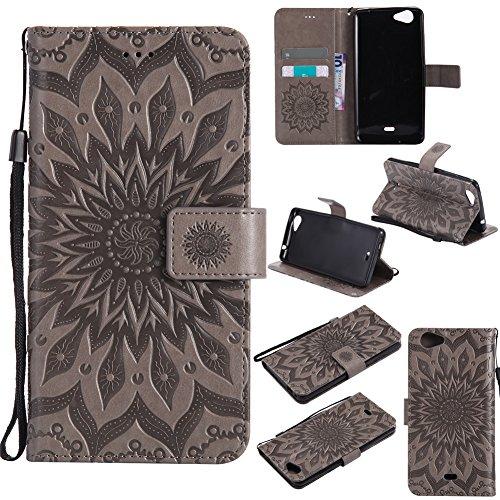 Nancen Compatible with Handyhülle Wiko Slide 2 Hülle,Wiko Slide 2 (5,5 Zoll) Leder Wallet Tasche Brieftasche Schutzhülle, Nancen Prägung Sonnenblume Muster
