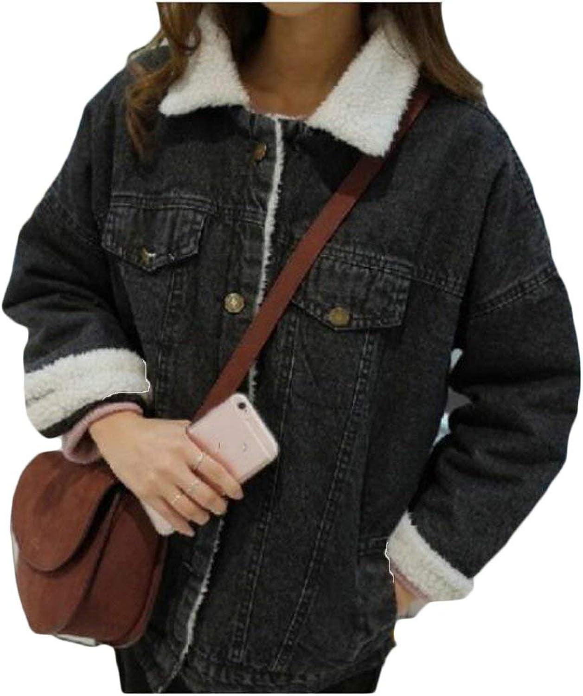BU2H Womens Cozy Thicken Lambs Wool Denim Jacket Loose Jean Coat