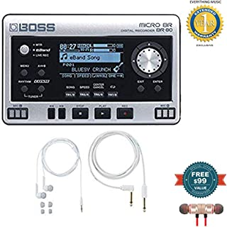 Boss Micro BR BR-80 Digital Recorder with Free BA-PC15 Earphones/Guitar Cable Set includes Free Wireless Earbuds - Stereo Bluetooth In-ear and 1 Year Everything Music Extended Warranty