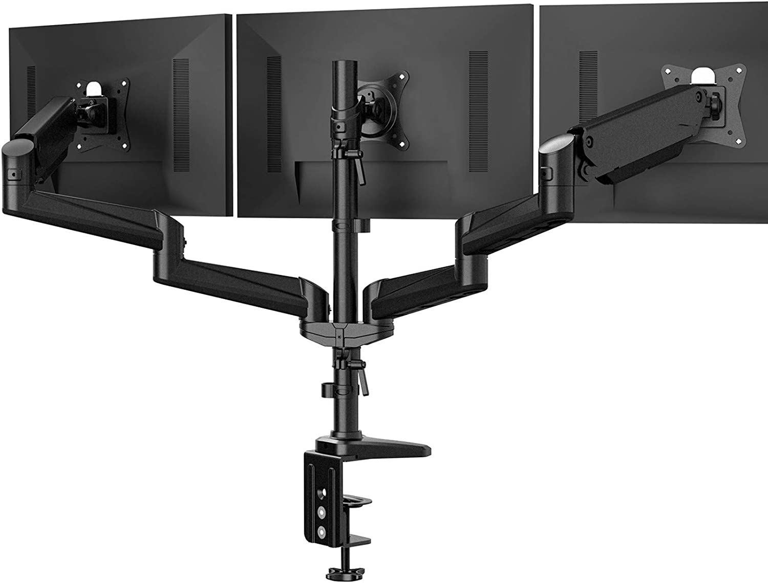 HUANUO Triple Monitor Stand - Full Motion Articulating Aluminum Gas Spring Monitor Mount Fits Three 17 to 32 inch Flat/Curved LCD Computer Screens with Clamp, Grommet Kit, Black