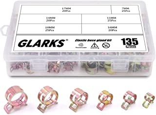 Glarks 135Pcs Spring Band Type Clips Air Hose Tube Water Pipe Fuel Pipe Silicone Vacuum Hose Clamp Fasteners Assortment Kit (7mm 10mm 11mm 14mm 16mm 17mm)