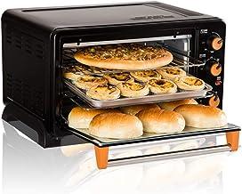 L.TSA Horno de Cocina - 1500W, Caja de Acero Inoxidable, Parrilla multifunción, Pantalla LCD y Tenedor para Parrilla, Pastel para Hornear en casa