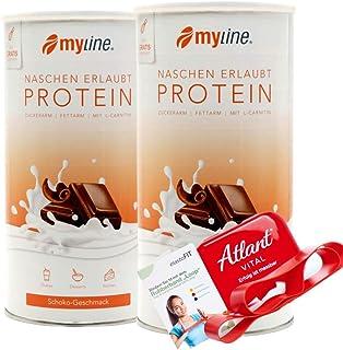 Myline Białko w proszku Protein Shake 2 szt. 2 x 400 g + Atlant Vital Fitness Tube (czekoladowe akcesoria czekoladowe)
