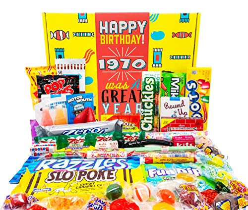Woodstock Candy 1970 50th Birthday Gifts for Women and Men Retro Decade Candy Box Assortment Basket from Childhood - 50 Years Old Born 1970