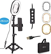 Portable LED Selfie Video Diva Ring Light Kit Dimmable Mini Led Lamp 7X6-inch with Tripod Stand & Cell Phone Holder for Tabletop Makeup Live YouTube Stream Photography Lighting in Carrying Bag