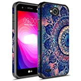Rosebono for LG X Power 2 Case, LG Fiesta LTE Case, LG K10 Power Case, Hybrid Dual Layer Shockproof Hard Cover Graphic Fashion Cute Colorful Silicone Skin Case for LG LV7 - Mandala