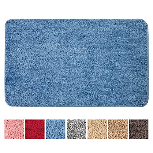 MIULEE Dekorative Teppiche Saugfähige weicher Rechteck mit hoher Hydroskopizität Modern Teppich für Wohnzimmer Schlafzimmer 40 X 60cm Blau