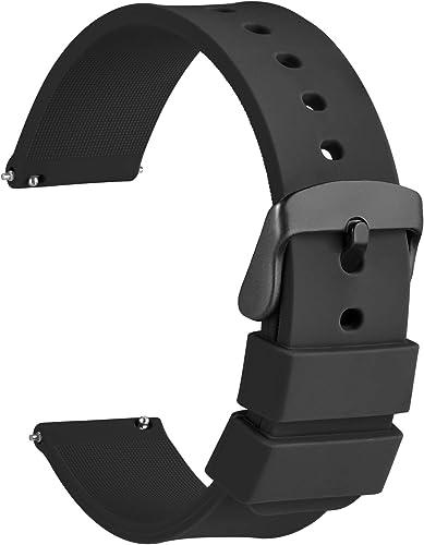 WOCCI Bracelets de Montres Silicone avec Boucle Noire, Remplacement Dégagement Rapide pour Femme Homme 14mm, 16mm, 18...