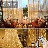 BLOOMWIN Rideau Lumineux 8 Modes avec Télécommande 6M*3M 600 LEDs Extérieur/Intérieur Lumineuses avec Crochets USB LED Guirlandes Lumineuses pour Décoration Noël Mariage Maison Jardin Blanc Chaud