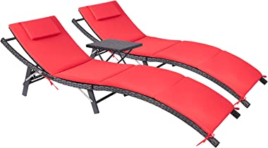 Devoko Patio Chaise Lounge Sets Outdoor Rattan Adjustable Back 3 Pieces Cushioned Patio Folding Chaise Lounge with Folding Ta