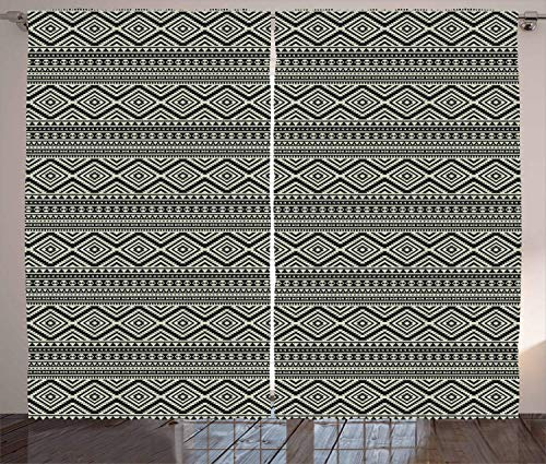 Tr674gs Southwestern Curtains, Pattern Antique Culture Geometric Motifs, Living Room Bedroom Window Drapes 2 Panel Set, 110 x 83 Inch Black and Eggshell