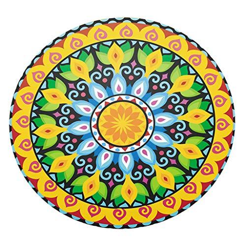 homozy Round Elastic Table Cover,Boho Mandala Table Protector, Vintage Flower Vinyl Tablecloth,47 Inch - Style 2