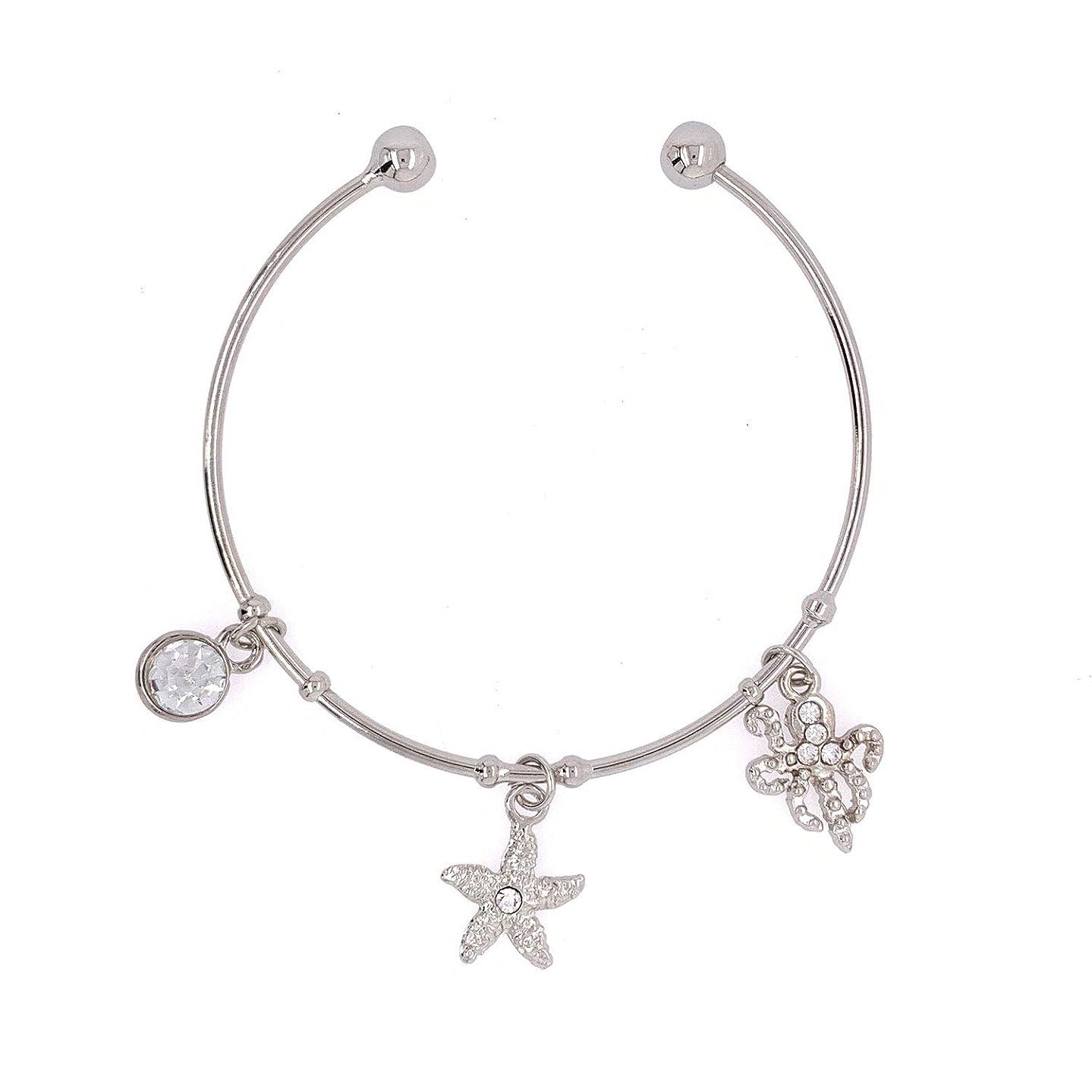 Jewelry Made By Me Coastal Silver Bangle Bracelet with 3 Charms