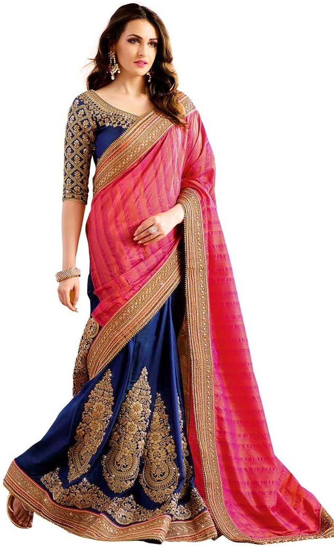 INMONARCH Womens Navy bluee and Magenta Silk Partywear Saree SKI13065