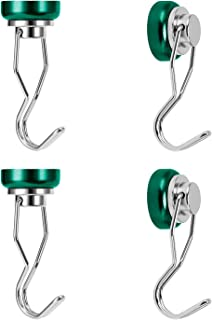Ant Mag - Swivel Swing Magnetic hooks, 50lbs Heavy Duty Neodymium Magnet 4 Pack with scratch proof Stickers-Great for refrigerator, kitchen, store, door, grill, bbq, office or warehouse. [Green]