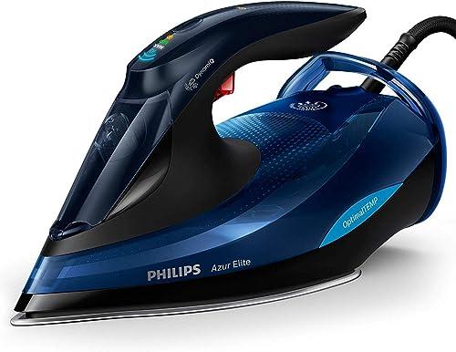 Philips Azur Elite Steam Iron with OptimalTEMP Technology, 240g Steam Boost and Safety Automatic Shut-Off, 2400W, Bla...
