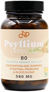 Pure Natural Whole Psyllium Husk Powder Capsules - 580mg Capsules 80 Pure Unflavored Fiber & Colon Cleanse Pills