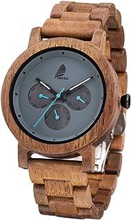 Reloj De Madera para Hombres y Mujeres, CZOKA Natural Nogal Negro/Oliva Movimiento de Cuarzo japonés con Correa Ajustable Artesanía Artesanal Madera Relojes