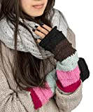 Warm Winter 100% Wool Fingerless Gloves Arm Warmers Hand Knit Crochet Pink Woman (PInk)