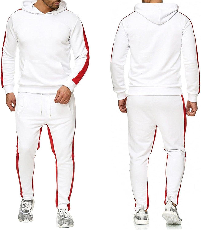 CNBPLS Men's Tracksuit,Joggers Hoodie Sweatshirt Pants Set,Two-Piece Hooded Jacket and Pants