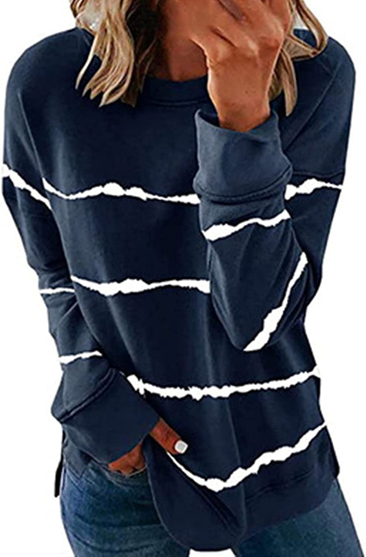Women's Casual Crewneck Sweatshirt Long Sleeve Tops Stripe Printed Comfy Loose Side Split Pullover Tops