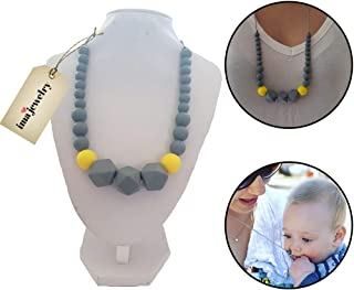 ima-jewelry BPA Free Chewable Silicone Baby Teething Necklace | Chew Beads - Safe for Baby | Chew Bead Necklace , Grey