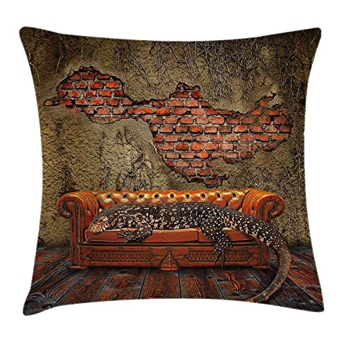 OMTANN Fantasy Decor Throw Pillow Cushion Cover, Decadence Grunge Ruin Brick Wall and a Giant Lizard on Sofa Surreal Art, Decorative Square Accent Pillow Case, Vermilion Umber 22x22 inches