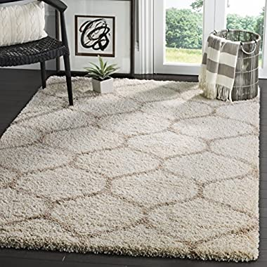 Safavieh Hudson Shag Collection SGH280D Ivory and Beige Moroccan Ogee Plush Area Rug (9' x 12')