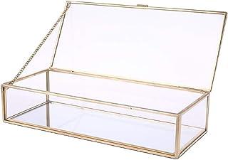 ZHANGHONGWEI Rustic Wedding Ring Box Bearer Geometric Storage Holder Personalized Transparent Glass Jewelry Decor