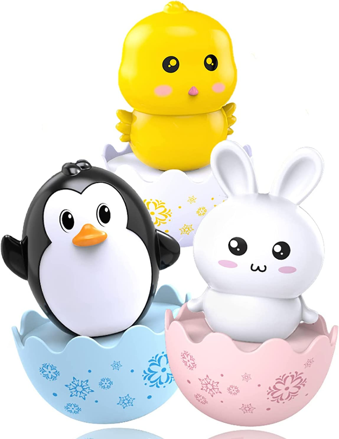 Lukax 3PCS Roly Poly Baby Toys, Musical Wobbler Tumbler Toy 6 to 12 Months Developmental, Penguin Bunny Chick Tummy Time Wobbler Toys for Kid Boy Girl Gifts