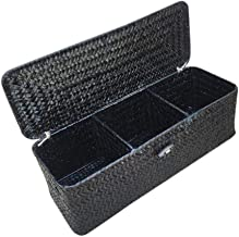 SWZJJ 3 Compartment Storage Box Wicker Rattan Basket with Cover Sundries Holder Case Container Desktop Organizer