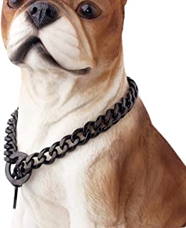 15mm High Grade Plated Dog Choke Collar Black for Small Medium Dogs, Stainless Steel Dog Chain Cuban Link for Pit Bull Mastiff Bulldog with costomer 12'' - 24''