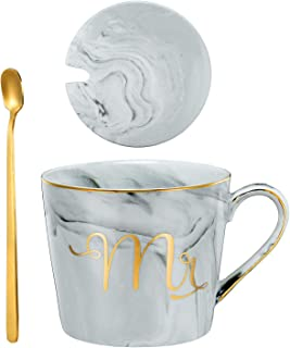 Nrpfell Mr Mrs Coffee Mugs Set, Ceramic Marble 15Oz Coffee Cup with Lids and Spoon in Gift Box Gray