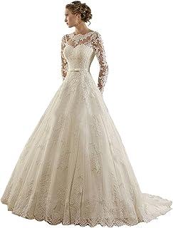 61a96be06 Vestido de novia de manga larga, con encaje y joyas de Lydiags
