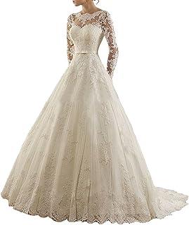 LYDIAGS, abito da sposa a trapezio con applique di pizzo, nastro e strascico, a manica lunga
