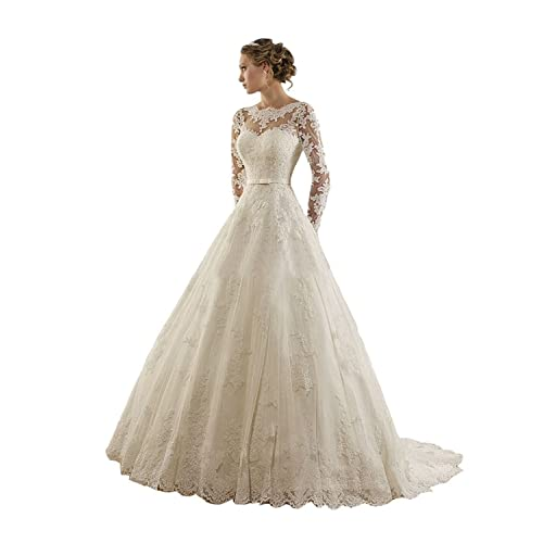 bb3f012e039 LYDIAGS Women s Jewel Lace Applique Long Sleeves Sash Chapel Train A Line Wedding  Dress