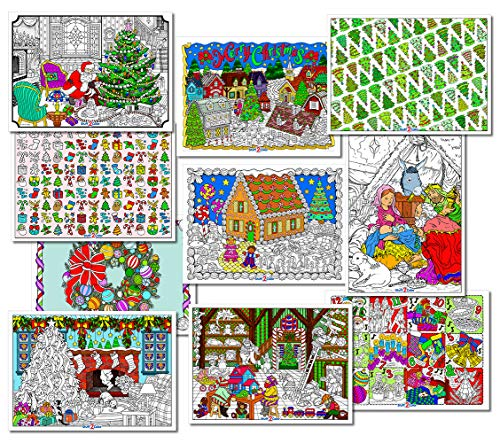 Christmas Coloring Posters (10-Pack of Unique Designs) - Printed on Heavyweight Cardstock - All Ages Family Coloring Project for Kids and Adults (Posters Arrive Uncolored)