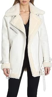Avec Les Filles Women's Oversized Asymmetrical Zip Faux Leather Biker Jacket
