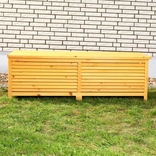 Melko Auflagenbox Kissenbox Gartenbox mit klappbarem Deckel, regenfest, aus Holz, 46 x 140 x 52 cm, Gartentruhe Holztruhe - 2