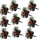 Sqxaldm Frutos Rojos Navideños y Piñas Decoración de Tallos de Bayas de Piñas Tallos de Bayas de Piña Artificial Mini Piñas Artificiales de Navidad Bayas Piñas Artificiales con Frutos Rojos(10 Piezas)