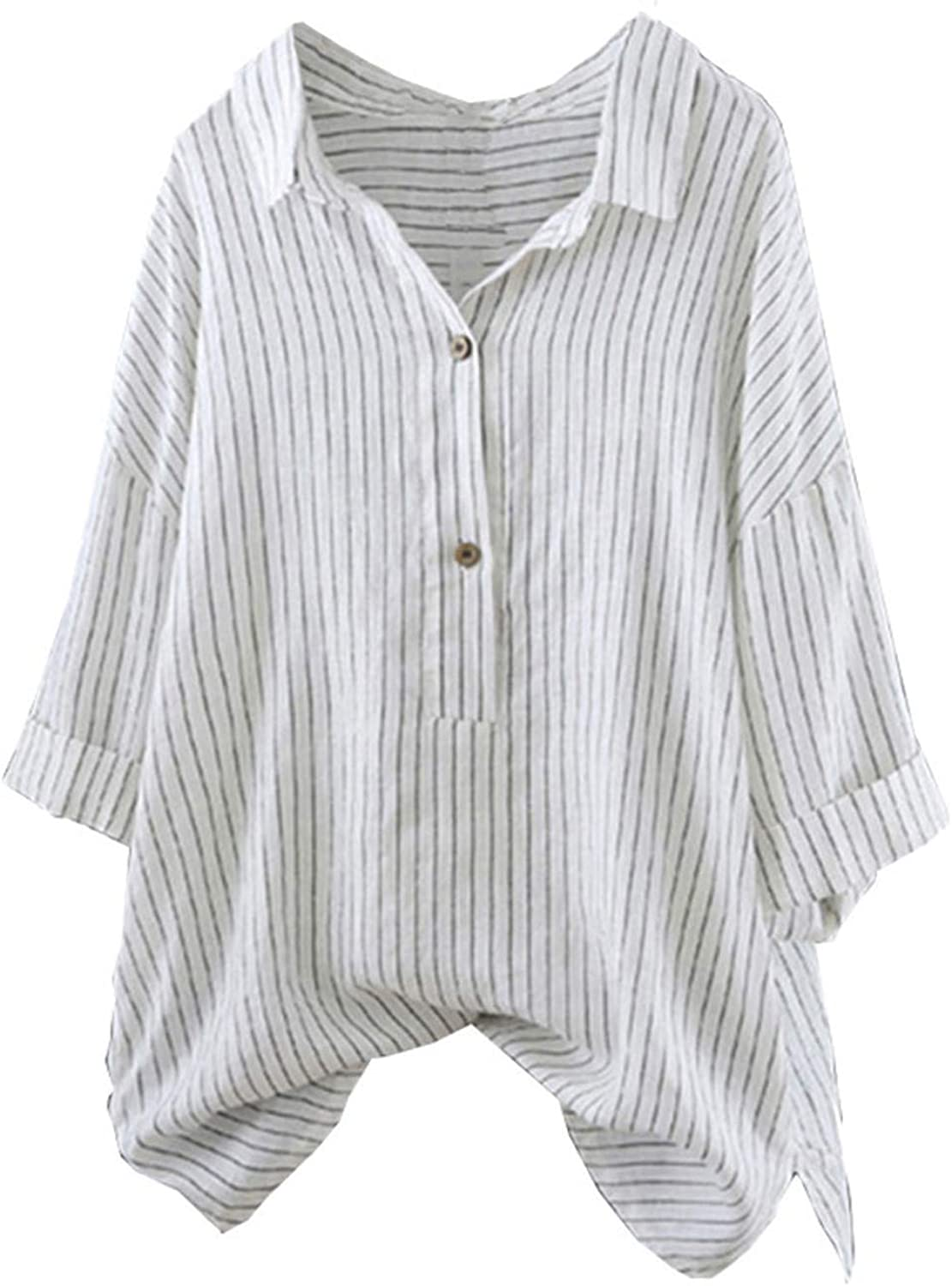 3/4 Sleeve Shirts for Women Roll Sleeve Summer Tops Striped Tees Button Down Tunic Loose Casual Blouse T-Shirts