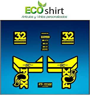 Yellow Blue Ecoshirt 6Y-G1WC-F6A3 Stickers Fork Fox 32 SC Performance 2017 Am83 Aufkleber Decals Autocollants Adesivi Forcela Gabel Fourche