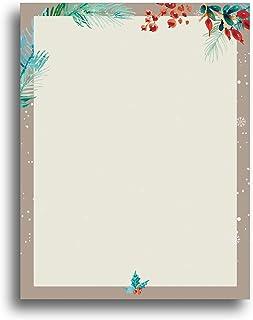 Watercolor Christmas Border Holiday Stationery Paper - 80 Sheets