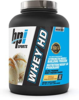 BPI Sports Whey HD Ultra Premium Protein Powder, Vanilla Caramel, 4.1 Pound