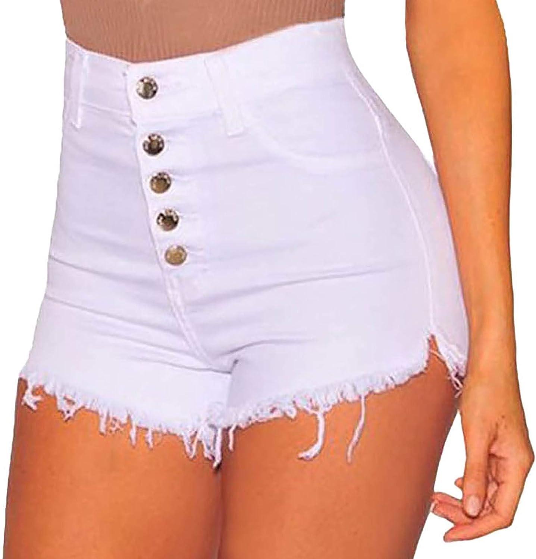 Womens High Waist Stretch Denim Shorts Casual Cut Off Frayed Raw Hem Ripped Jeans Denim Shorts