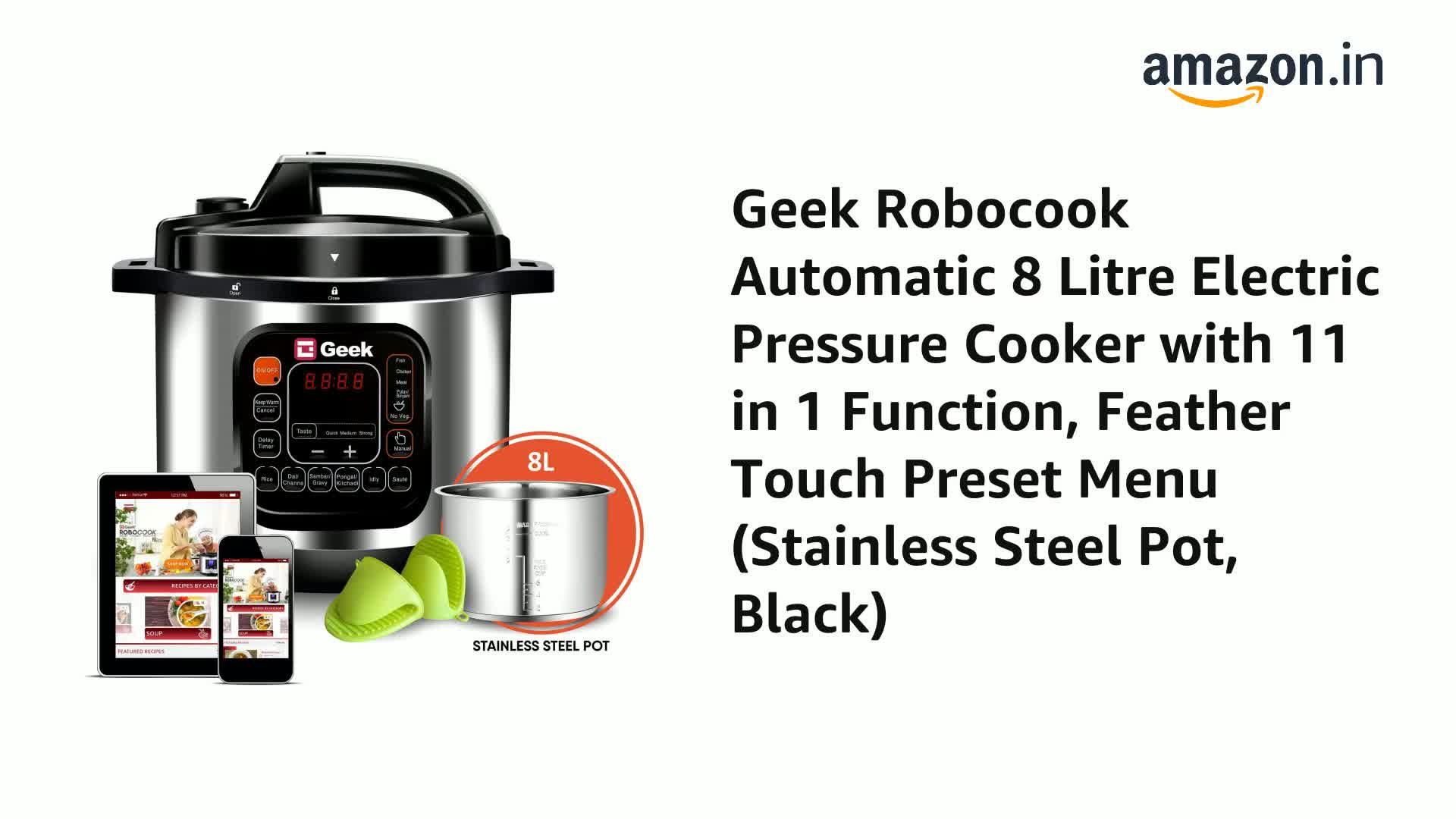 Geek Robocook Zeta 25 litre Electric Pressure Cooker with SS Pot, Black