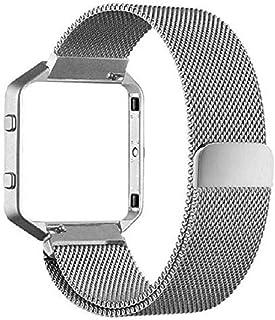 ファッショナブルなクリアランス。 Noopvan Fitbit Blazeストラップ ミラネーゼループ ステンレススチール ブレスレットストラップ メタルフレームスマートフィットネスウォッチ Fitbit Blaze交換用バンド 独自のマグネットロック付き one size fits all ブラック