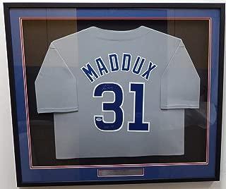 Chicago Cubs Greg Maddux Signed Framed Gray Jersey HOF 14 - PSA/DNA Authentic