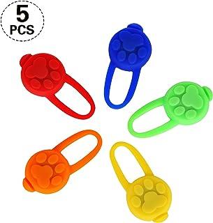 Yizhet Collar Luz LED para Perros, 5 Piezas Clip-On Collar de Luz LED para Perro Luz de Parpadeo de Mascota 3 Modos Luces de Collar de Seguridad Luminoso Nocturna Impermeable para Gatos y Perros
